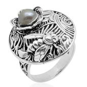 Pearl Expressions Freshwater Pearl Sterling Silver Round Engraved Ring (Size 8.0) TGW 2.750 cts.