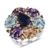Kanchanaburi Blue Sapphire, Multi Gemstone 14K YG and Platinum Over Sterling Silver Statement Floral Cluster Ring (Size 6.0) TGW 11.94 cts.