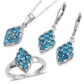 Malgache Neon Apatite Platinum Over Sterling Silver Lever Back Earrings, Ring (Size 7) and Pendant With Chain (20 in) TGW 3.000 cts.