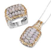 Australian White Opal 14K YG and Platinum Over Sterling Silver Ring (Size 10) and Pendant With Chain (20 in) TGW 4.940 Cts.