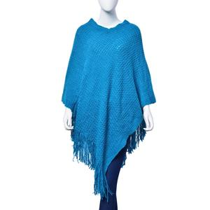Teal 100% Acrylic V-Shape Poncho with Fringe (40x28 in)