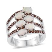 Australian White Opal, Mozambique Garnet Platinum Over Sterling Silver Openwork Fashion Ring (Size 7.0) TGW 2.030 cts.