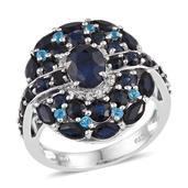 Kanchanaburi Blue Sapphire, Malgache Neon Apatite, White Topaz Platinum Over Sterling Silver Ring (Size 9.0) TGW 6.75 cts.
