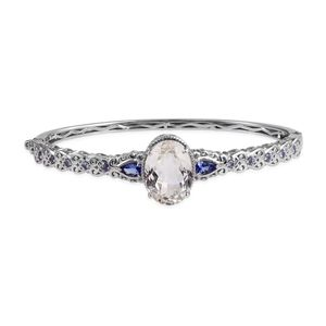XIA Kunzite, Tanzanite Platinum Over Sterling Silver Bangle (7.50 in) TGW 13.06 cts.