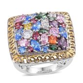 J Francis - 14K YG and Platinum Over Sterling Silver Statement Ring Made with Multi Color SWAROVSKI ZIRCONIA (Size 6.0) TGW 9.78 cts.