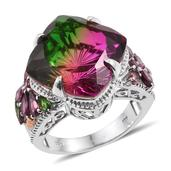 Watermelon Quartz, Orissa Rhodolite Garnet, Russian Diopside 14K RG and Platinum Over Sterling Silver Ring (Size 9.0) TGW 19.390 cts.