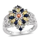 Multi Sapphire, White Topaz Platinum Over Sterling Silver Openwork Ring (Size 9.0) TGW 2.310 cts.