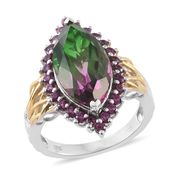 Watermelon Quartz, Orissa Rhodolite Garnet 14K YG and Platinum Over Sterling Silver Ring (Size 6.0) TGW 10.50 cts.