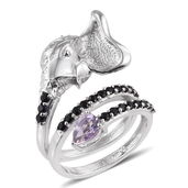 KARIS Collection - Rose De France Amethyst, Thai Black Spinel Platinum Bond Brass Elephant Swirl Ring (Size 6.0) TGW 2.050 cts.
