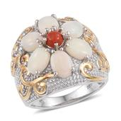 Australian White Opal, Mediterranean Coral 14K YG and Platinum Over Sterling Silver Engraved Floral Ring (Size 7.0) TGW 3.250 cts.