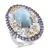 GP Larimar, Multi Gemstone 14K YG and Platinum Over Sterling Silver Openwork Elongated Ring (Size 6.0) TGW 8.90 cts.