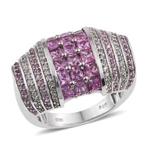 Madagascar Pink Sapphire, White Zircon Platinum Over Sterling Silver Statement Ring (Size 6.0) TGW 3.04 cts.