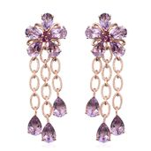 Rose De France Amethyst, Orissa Rhodolite Garnet 14K RG Over Sterling Silver Floral Chandelier Earrings TGW 20.350 Cts.