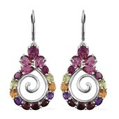 Lab Created Bixbite, Multi Gemstone Platinum Over Sterling Silver Lever Back Earrings TGW 7.17 cts.