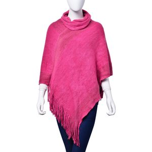 J Francis - Fuchsia 100% Acrylic Golden Thread V-Shape Turtleneck Poncho with Fringe (38x36 in)