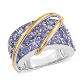 Tanzanite 14K YG and Platinum Over Sterling Silver Statement Ring (Size 7.0) TGW 6.45 cts.