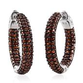 Mozambique Garnet Platinum Over Sterling Silver Inside Out Cluster Huggie Hoop Earrings TGW 3.100 Cts.