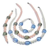Simulated Blue and Pink Pearl, Green and Blue Glass Silvertone Set of 2 Bracelets (7.5 in) and Necklaces (20.00 In)