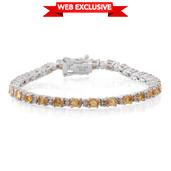 Yellow Sapphire, Diamond Accent Sterling Silver Tennis Bracelet (8.00 In) TGW 5.33 cts.