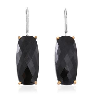 Doorbuster Thai Black Spinel 14K YG and Platinum Over Sterling Silver Lever Back Earrings TGW 40.000 Cts.
