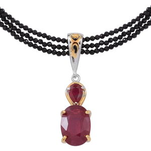 Doorbuster Niassa Ruby 14K YG and Platinum Over Sterling Silver Pendant With Beaded Thai Black Spinel 3 Strand Necklace (18 in) Total Gem Stone Weight 42.820 Carat