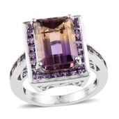 Anahi Ametrine, Amethyst, White Topaz Platinum Over Sterling Silver Ring (Size 7.0) 0 TGW 9.780 cts.
