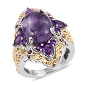 Utah Tiffany Stone, Amethyst, Mozambique Garnet 14K YG and Platinum Over Sterling Silver Ring (Size 10.0) TGW 9.770 cts.