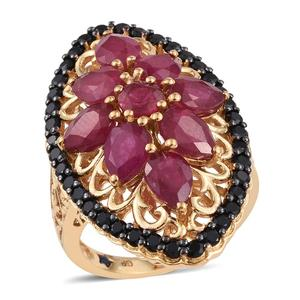 GP Niassa Ruby, Thai Black Spinel 14K YG Over Sterling Silver Elongated Ring (Size 6.0) TGW 11.520 cts.