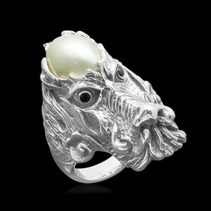 Pearl Expressions Mabe Pearl, Simulated Black Diamond Sterling Silver Dragon Head Ring (Size 9.0) TGW 0.15 cts.