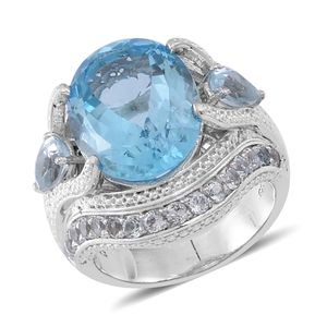 Sky Blue Topaz Sterling Silver Ring (Size 9.0) TGW 13.360 cts.