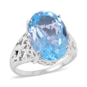 Sky Blue Topaz 14K YG and Platinum Over Sterling Silver Openwork Solitaire Ring (Size 7.0) TGW 15.500 cts.