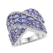 Tanzanite Platinum Over Sterling Silver Criss Cross Statement Ring (Size 5.0) TGW 7.80 cts.