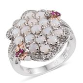 Australian White Opal, Ruby, White Topaz 14K RG and Platinum Over Sterling Silver Cluster Split Ring (Size 6.0) TGW 2.19 cts.
