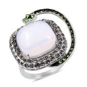 Opalite, Austrian Crystal Stainless Steel Shooting Star Ring (Size 8.0) TGW 40.000 cts.