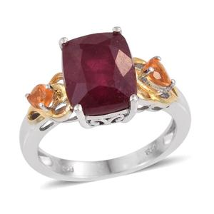 Niassa Ruby, Jalisco Fire Opal 14K YG and Platinum Over Sterling Silver Ring (Size 7.0) TGW 7.580 cts.