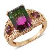 Watermelon Quartz, Orissa Rhodolite Garnet 14K YG Over Sterling Silver Ring (Size 10.0) TGW 9.90 cts.