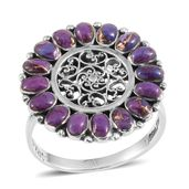 Santa Fe Style Mojave Purple Turquoise Sterling Silver Ring (Size 7.0) TGW 2.10 cts.