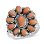 Santa Fe Style Spiny Oyster Shell Orange Sterling Silver Floral Ring (Size 10.0)