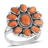 Santa Fe Style Spiny Oyster Shell Orange Sterling Silver Floral Ring (Size 7.0)