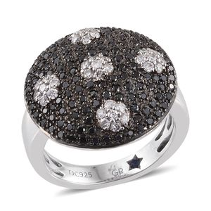 Certified Black Diamond (IR), Diamond Sterling Silver Dotted Ring (Size 8.0) TDiaWt 1.27 cts, TGW 1.30 cts.
