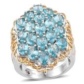 Madagascar Paraiba Apatite 14K YG and Platinum Over Sterling Silver Openwork Elongated Cluster Ring (Size 7.0) TGW 8.55 cts.