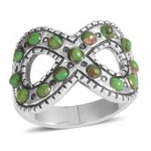 Santa Fe Style Mojave Green Turquoise Sterling Silver Ring (Size 8.0) TGW 2.250 cts.