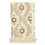 Beige and Brown Floral Print 100% Cotton Throw (60x50 in)