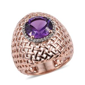 Amethyst, Cambodian Zircon 14K RG Over Sterling Silver Ring (Size 11.0) 0 TGW 2.050 cts.