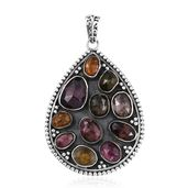 Mozambique Garnet, Multi Color Tourmaline Sterling Silver Drop Pendant without Chain TGW 10.26 cts.