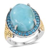 Larimar, Malgache Neon Apatite 14K YG and Platinum Over Sterling Silver Statement Ring (Size 9.0) TGW 20.150 cts.