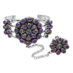 Bali Legacy Collection Mojave Purple Turquoise Sterling Silver Cuff (7.50 in) with Ring Connection (Adjustable) TGW 50.90 cts.