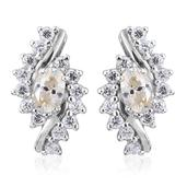 Moissanite, White Zircon Platinum Over Sterling Silver Earrings TGW 2.22 cts.
