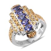 Premium AAA Tanzanite 14K YG and Platinum Over Sterling Silver Openwork Ring (Size 5.0) TGW 2.250 cts.
