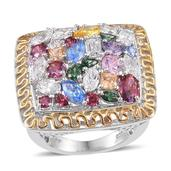 J Francis - 14K YG and Platinum Over Sterling Silver Ring Made with Multi Color SWAROVSKI ZIRCONIA (Size 8.0) TGW 17.216 cts.
